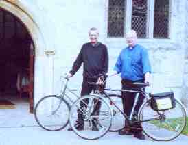 Vicar and curate at Studley with bicycles