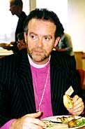 Bishop James, seen here eating a LOAF type meal at the CEL seminar in Sheffield in 2002, will be the guest speaker at CEL's conference on 1 Nov - His talk: Earthing the Gospel