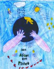 Look after our planet - prize winning entry for the CEL  Operation Noah competition by Elizabeth Heard (8)  of Hawksworth CE School, Guiseley, W Yorks